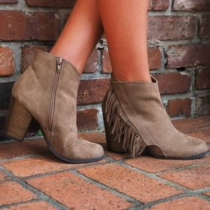 Taupe Suede Fringe Booties